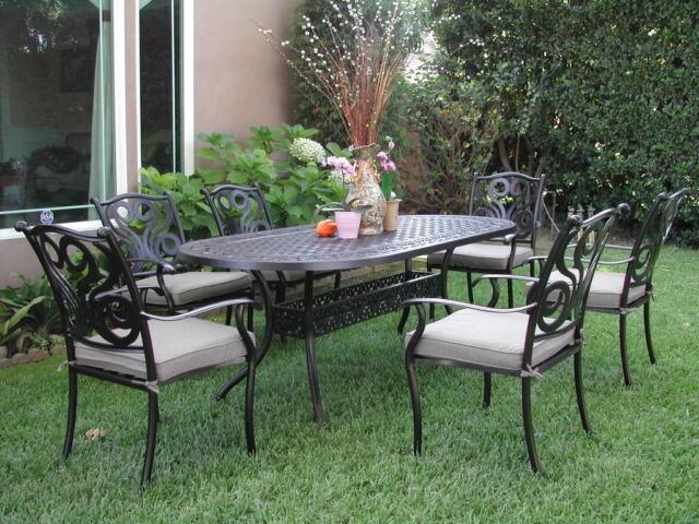 Cast Aluminum Outdoor Patio Furniture 7 Piece Dining Set Perris Collection  CBM