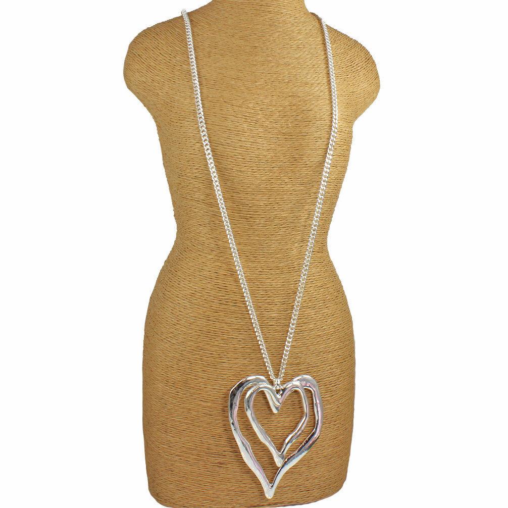 Ladies shiny silver colour 90 cm long curb chain extra large double heart pendant lagenlook necklace Fq3xnX1dU