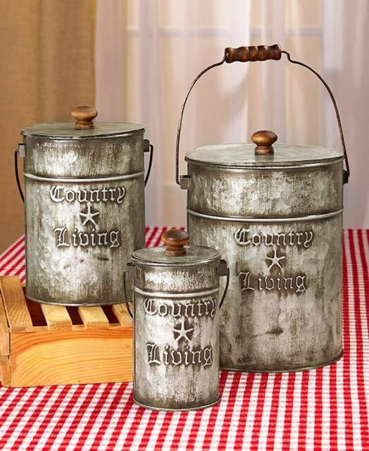 Set Of 3 Country Living Canisters Galvanized Metal Kitchen