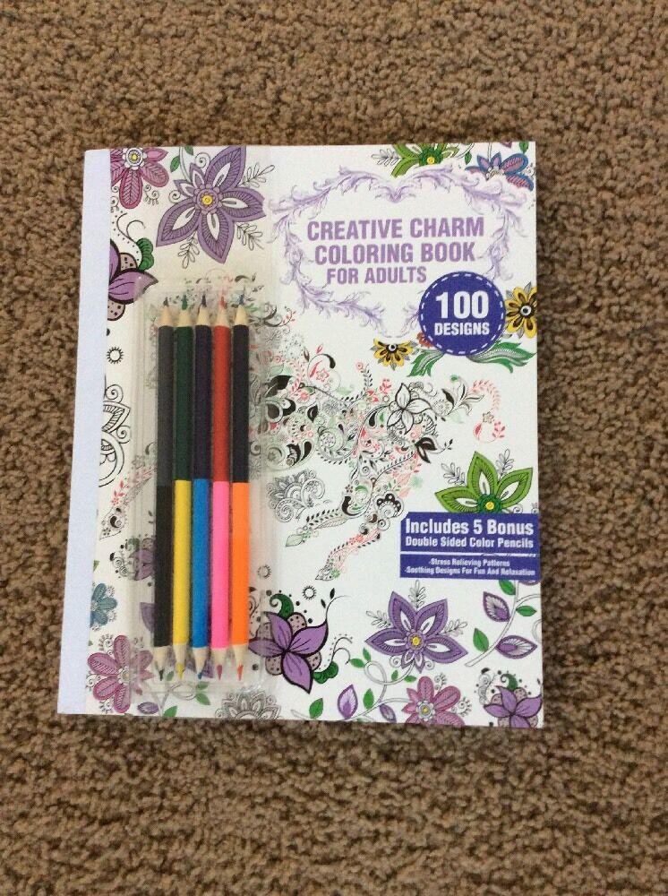 CREATIVE CHARM Coloring Book For Adults 100 DESIGNS W 5 Bonus Pencils