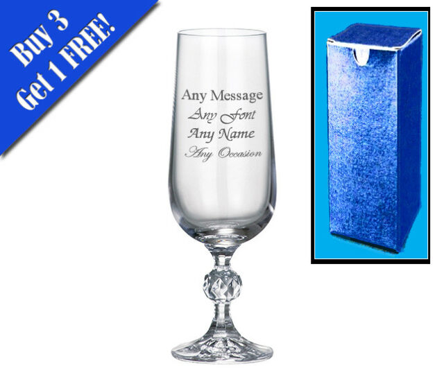 Personalised Engraved Crystal Champagne Flute Birthday Bridesmaid