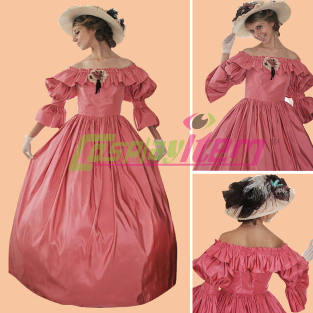 Red 1860s Civil War Victorian Southern Belle Ball Gown Dress ...
