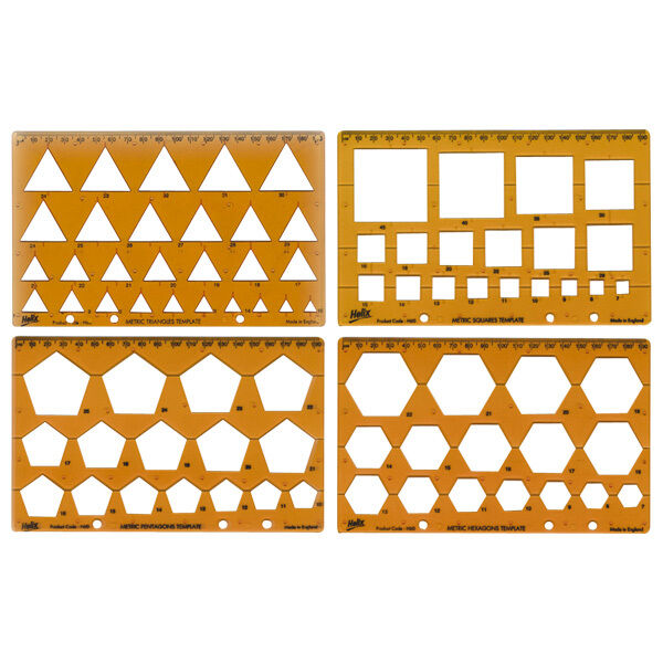 Helix Shape Template Set Triangle, Square, Pentagon, Hexagon. Ref H60010 4 pack
