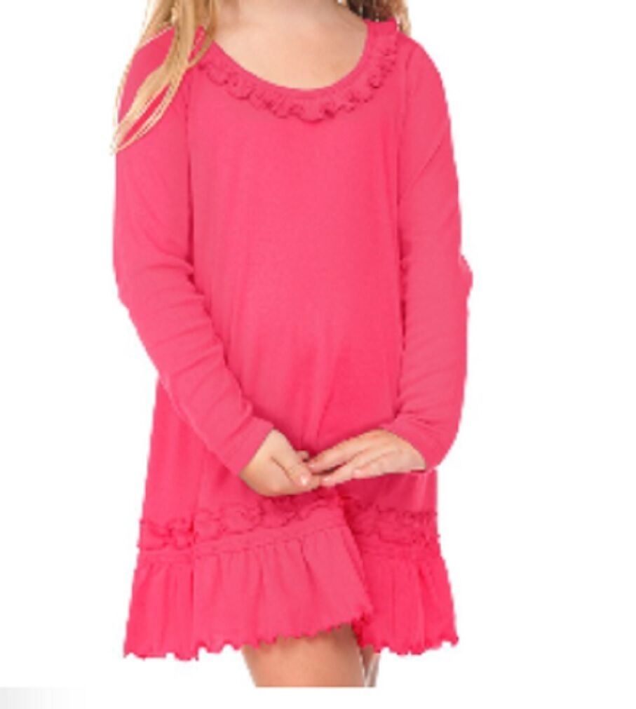 Cotton Dress Infant Toddler Girls Blanks Long Sleeve Ruffle Neck 12m ...