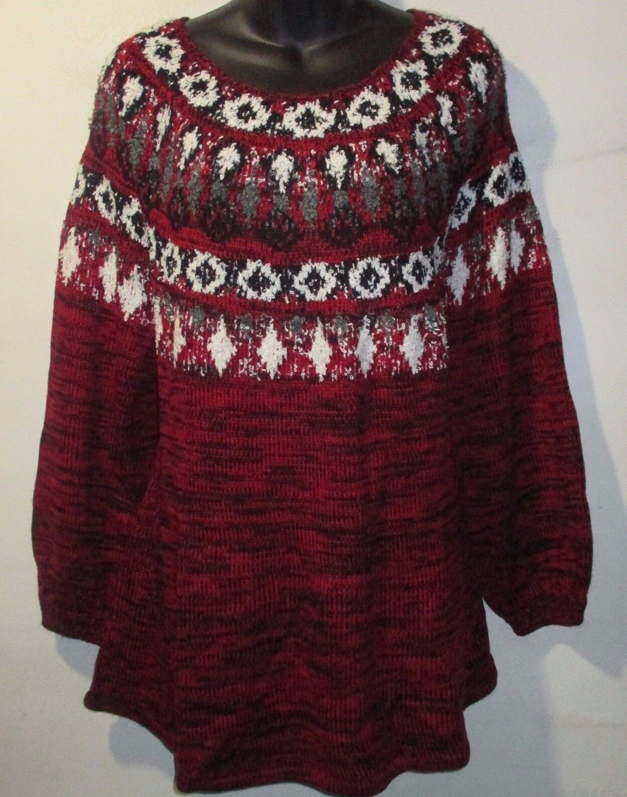 Style&co. Women Plus Size Great Outdoors Red AMORE Fair Isle ...