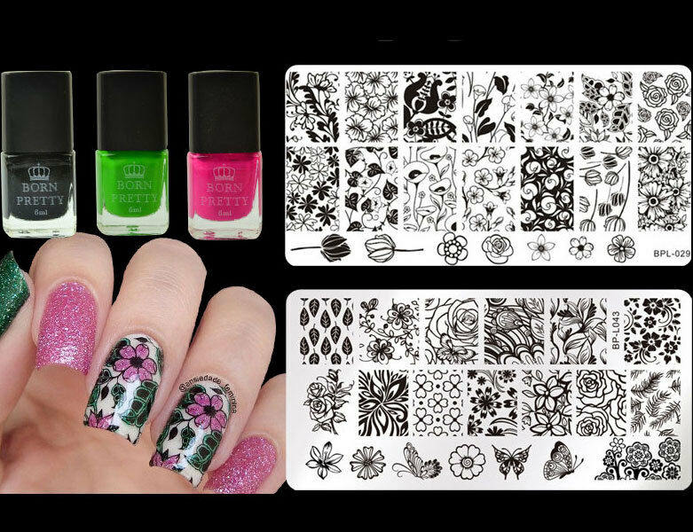 5pcs Nail Art Stamping Plates Polish Varnish Stamp Kit Manicure ...
