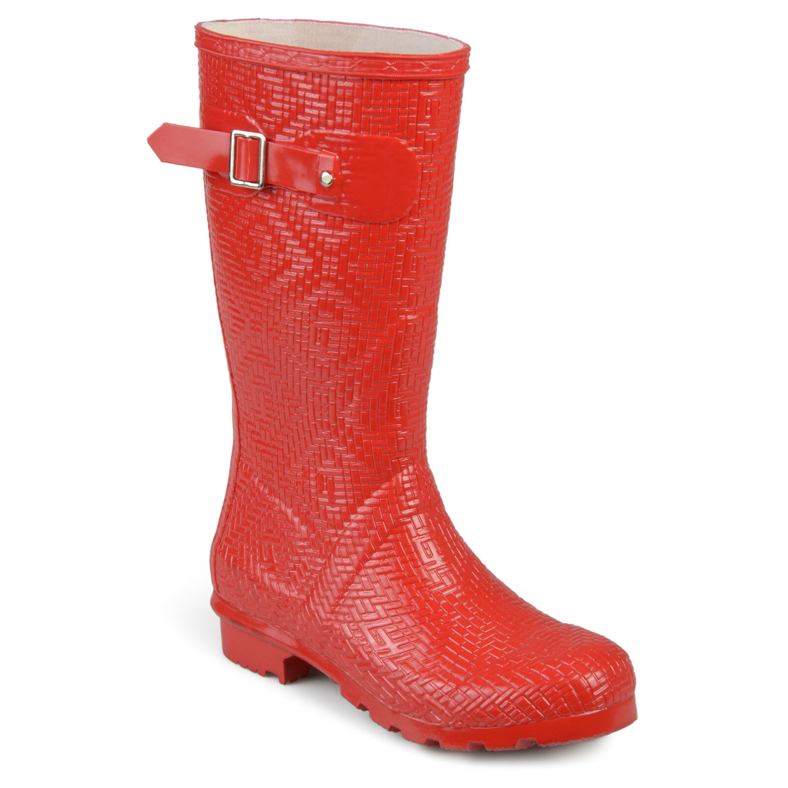 Womens drench Mid-Calf Textured Basketweave Rubber Rainboots