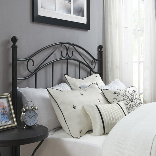 full queen size bed headboard traditional metal black bedroom frame furniture ebay. Black Bedroom Furniture Sets. Home Design Ideas