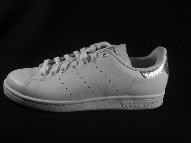 ORIGINALI Adidas Stan Smith in Pelle Bianco Argento Metallizzato Scarpe da ginnastica s80342