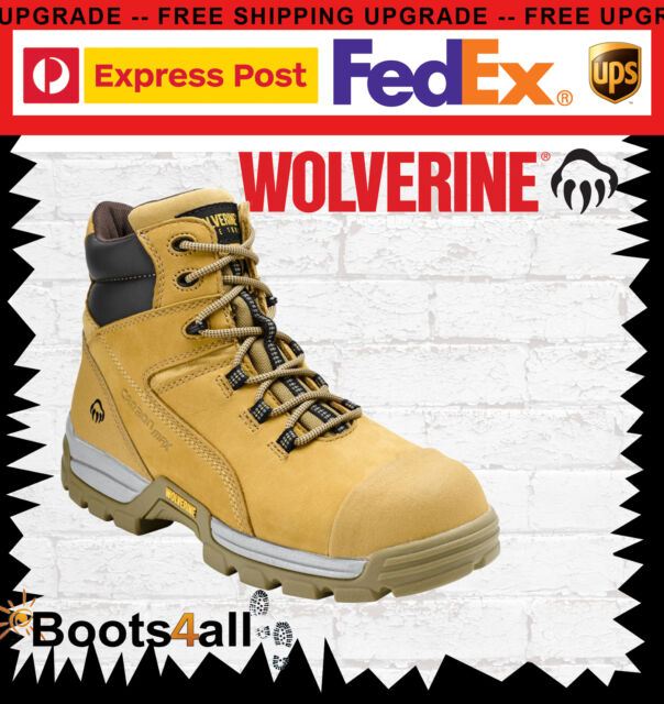 "New Wolverine Work Boots Safety Steel Toe Cap WHEAT 6"" Tarmac W81017"