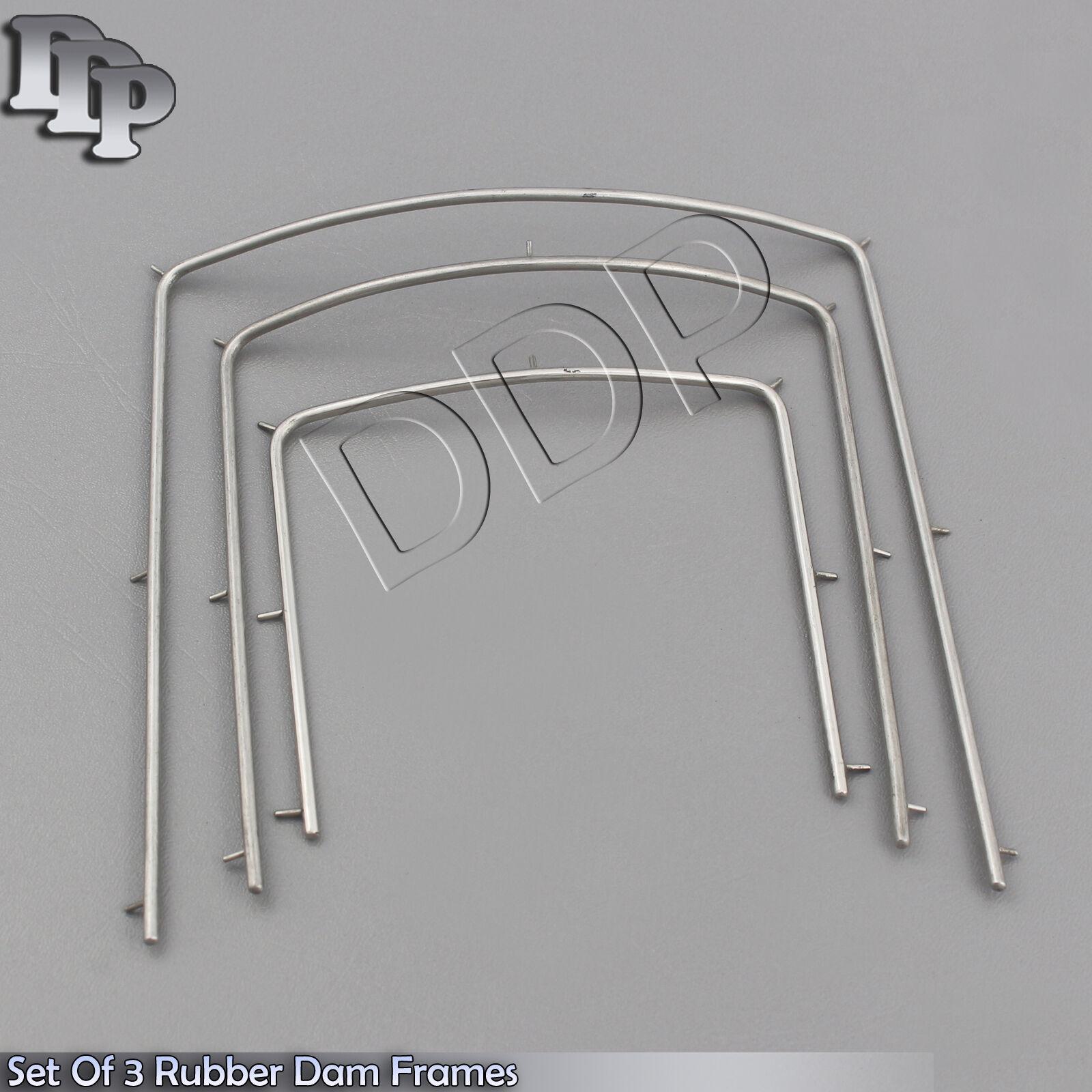 Set of 3 Rubber Dam Frames Small Medium Large Dental Endodontic ...