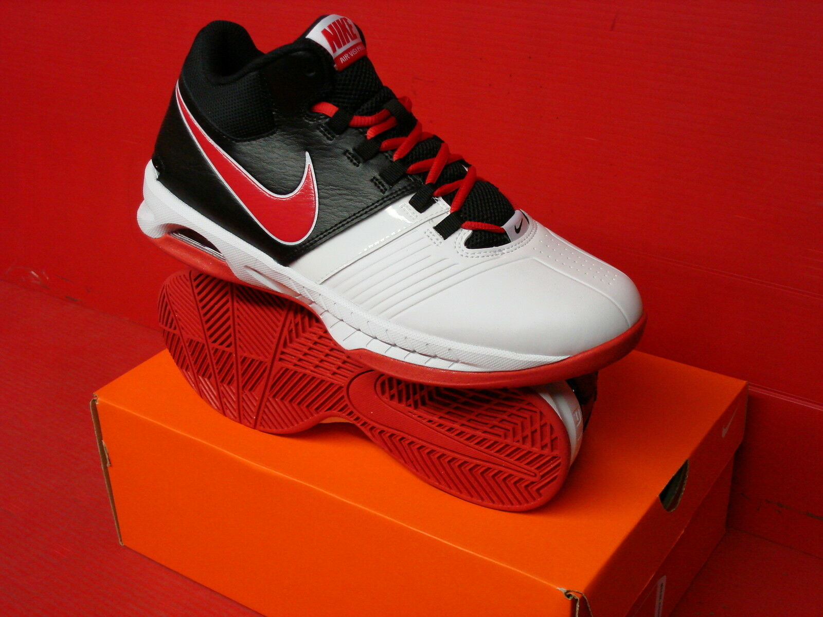 Nike Air Visi Pro V 5 White Black Red Mens Basketball Shoes SNEAKERS  653656-102 8.5 | eBay