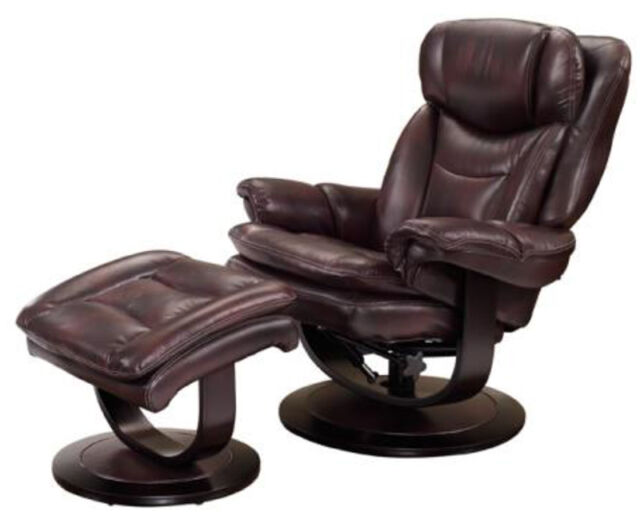 Barcalounger Roscoe Plymouth Mahogany Leather Pedestal Recliner Chair +  Ottoman
