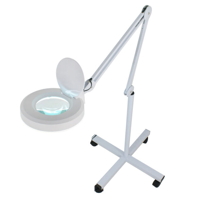 Lovely 5x Magnifier Lamp Glass Adjustable Rolling Floor Stand Magnifying 16 Diopter