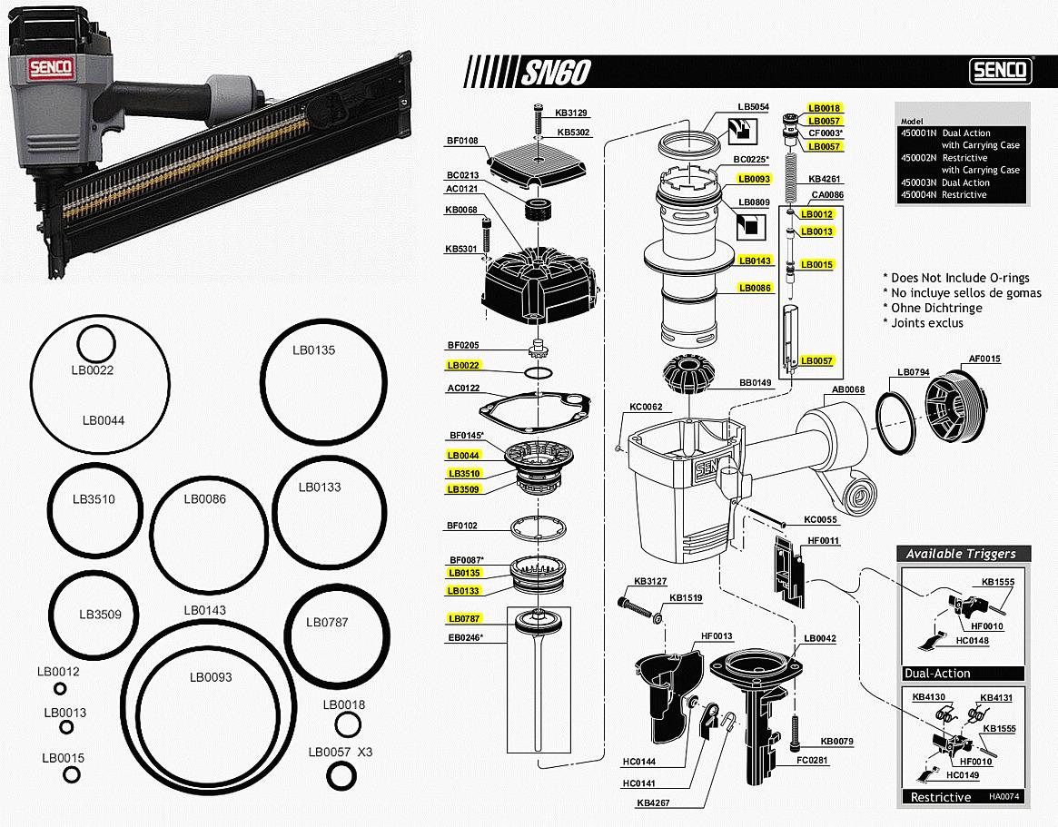 SENCO SN60 Full Head Framing Nailer Nail Gun Air Compressor Powered ...