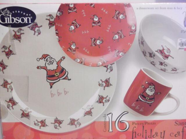 16 piece Gibson Santa Holiday Cafe Stoneware Dinnerware Set NIB max u0026 lucy & 16 Piece Gibson Santa Holiday Cafe Stoneware Dinnerware Set NWOB Max ...
