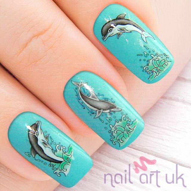 Dolphin Nail Stickers, Water Decals, Tatoos, Transfers 01.03.037 - Dolphin Nail Stickers Water Decals Tatoos Transfers 01.03.037 EBay