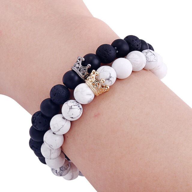 UEUC King&Queen Crown Couple Bracelets His and Her Friendship 8mm Beads Bracelet Z6hHB76TbO