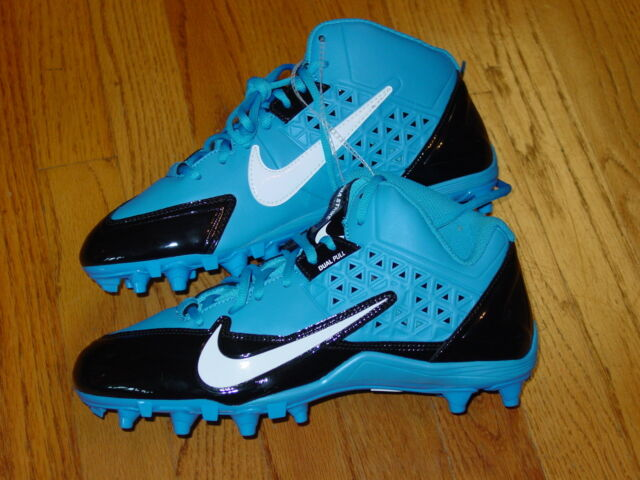 Mens 10 Nike Alpha Strike Dual Pull 3/4 Football Cleats Blue Black Spikes