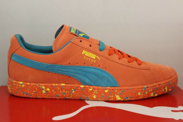 blue and orange puma suede