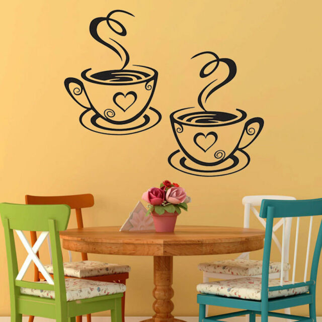 Coffee Cups Tea Wall Stickers Art Vinyl Decal Pub Restaurant Kitchen ...