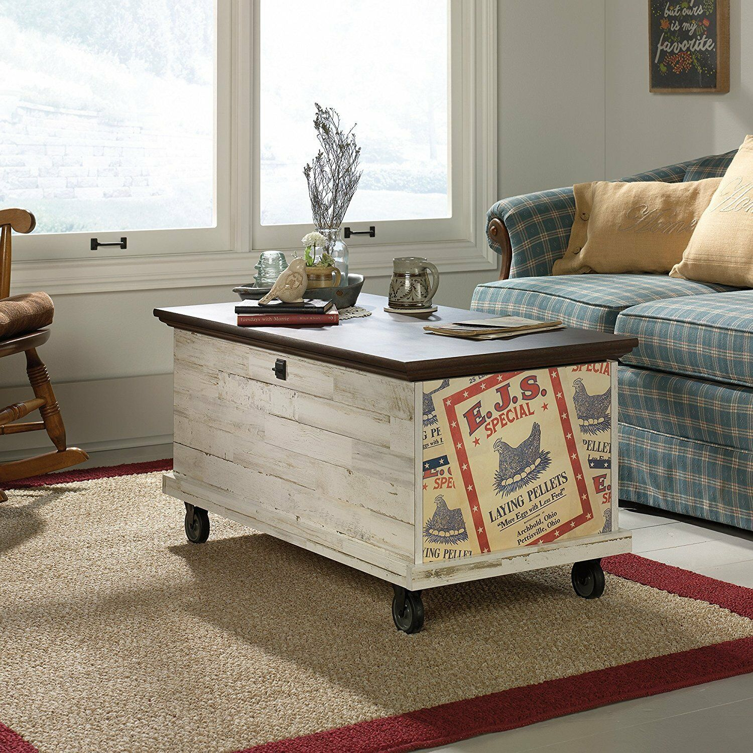 Sauder Eden Rue Rolling Chest Trunk Coffee Table White