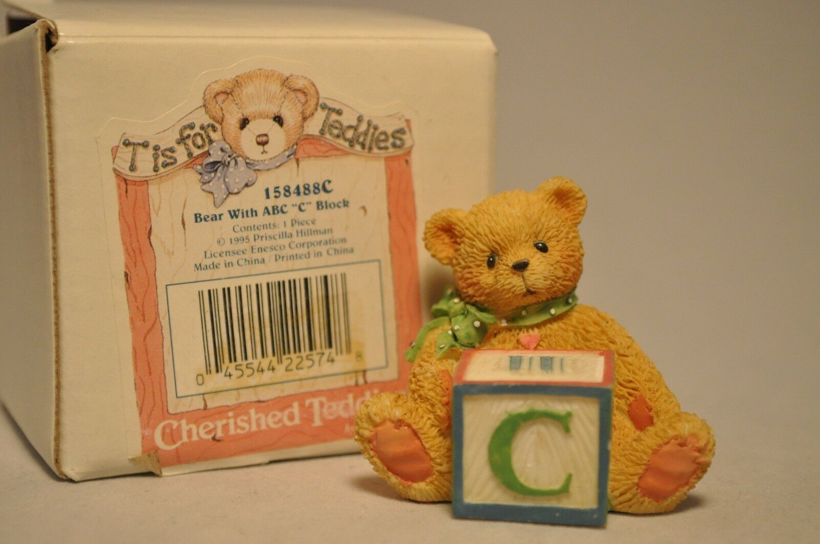 Cherished Teddies Bear With Abc C Alpha Letter Block   Ebay