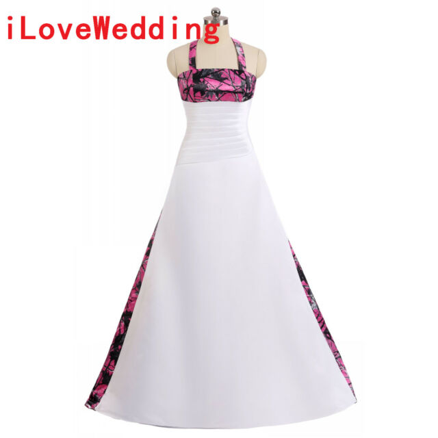 Camo Wedding Dresses Halter Ball Gown White&fuchsia Camouflage ...