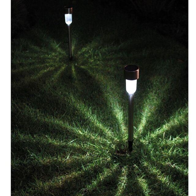 Set 8x LED Stainless Steel Solar Powered Stake Garden Path Border Lights