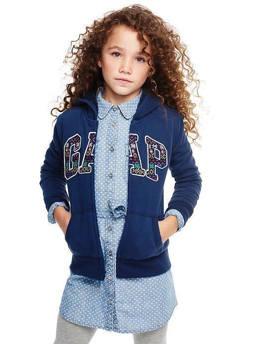 Gap Kids Cozy Sherpa Fair Isle Logo Zip Hoodie Navy Sweatshirt XS ...