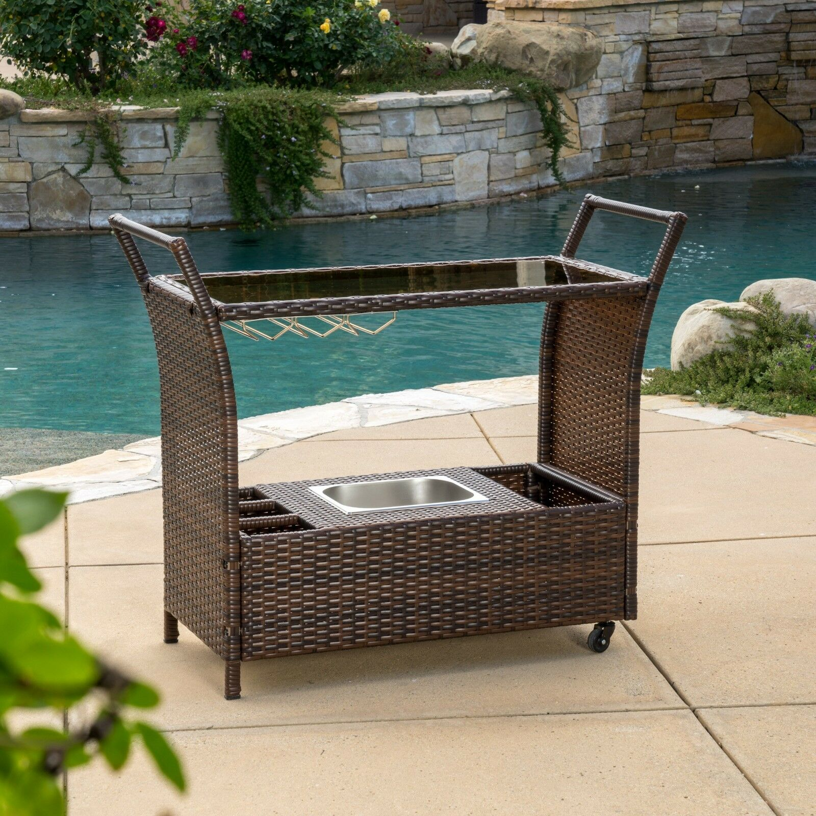Outdoor Bar Cart Rolling Serving Wicker Portable Beverage Patio