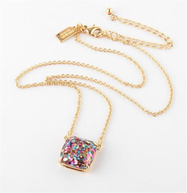 Kate spade 12k gold plated multi glitter square pendant necklace kate spade 12k gold plated multi glitter square pendant necklace ebay aloadofball Image collections