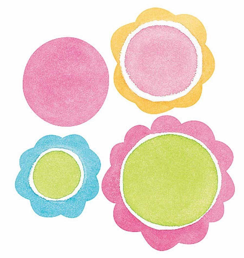 Frilly Polka Dots 25 Dot Round Floral Circle Wallies Wall Stickers ...