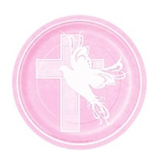 Baptism or Communion Pink Dessert Paper Plates Cross Dove 7\  ( 8 Plates)  sc 1 st  eBay & Pink Dove Cross 8 Ct Dessert Cake Plates 7\