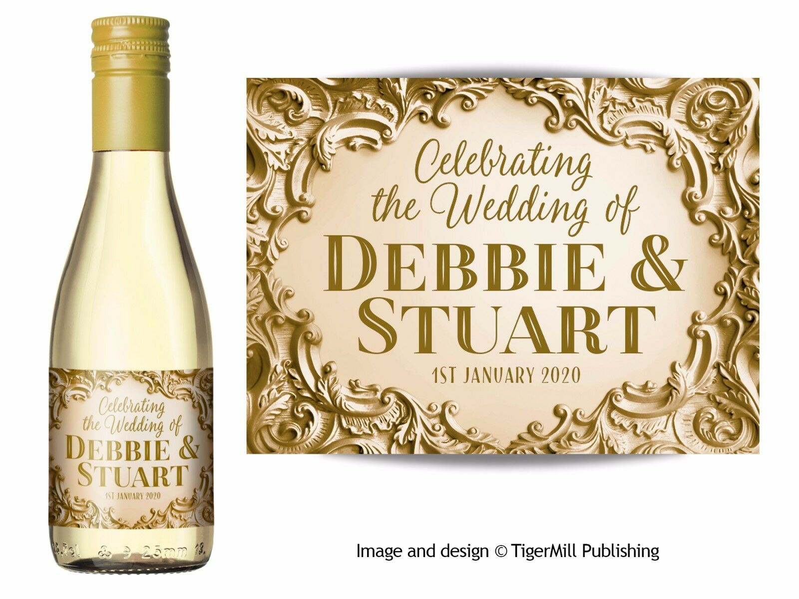 Personalised Gold Mini Wine Or Mini Champagne Bottle Labels Wedding