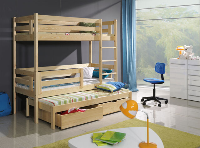 Bert Triple Bunk Bed With Mattresses And Storage Drawers Reversable Ladder