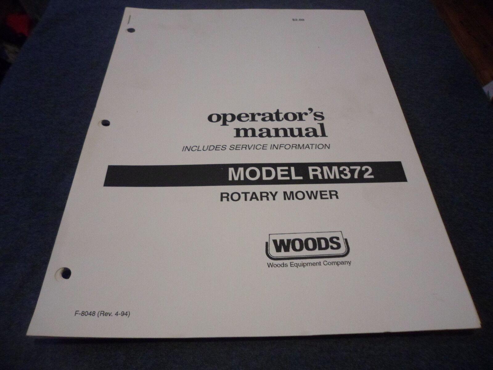 woods rm372 rotary mower owners manual service information ebay rh ebay com Equipment Maintenance Manual Equipment Manual Joke