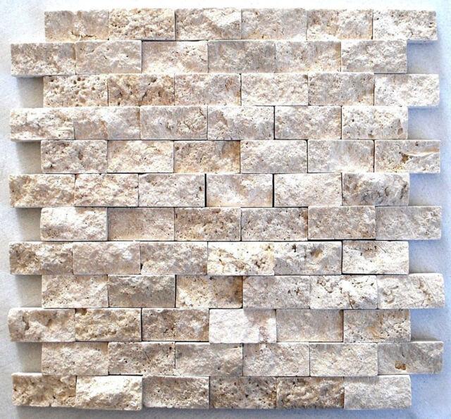 Light Travertine 1x2 Splitface Mosaic Ivory Tile Backsplash Wall Bath  Kitchen