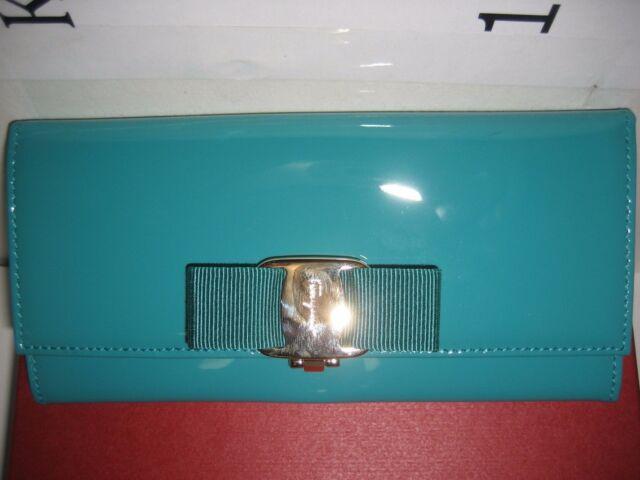 salvatore ferragamo bifold blue green patent leather wallet card