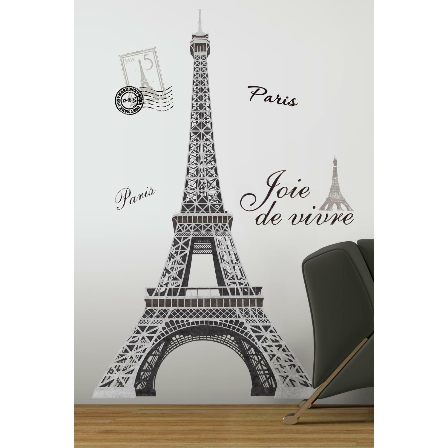 Roommates rmk1576gm eiffel tower peel and stick giant wall decal picture 1 of 3 amipublicfo Choice Image