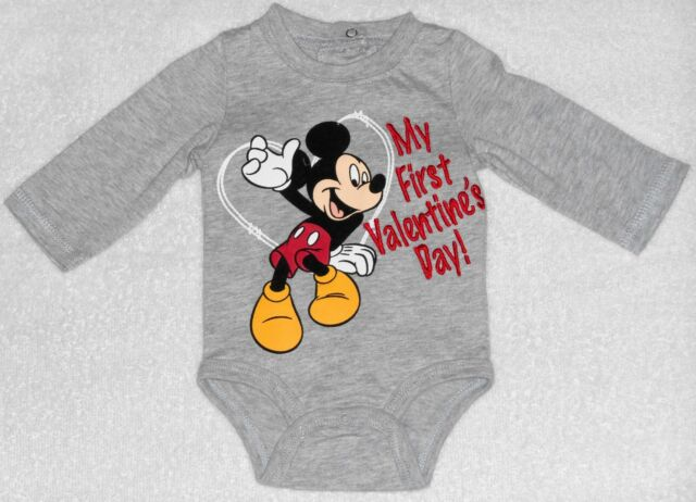 infant boys size newborn mickey mouse my first valentines day bodysuit nwt