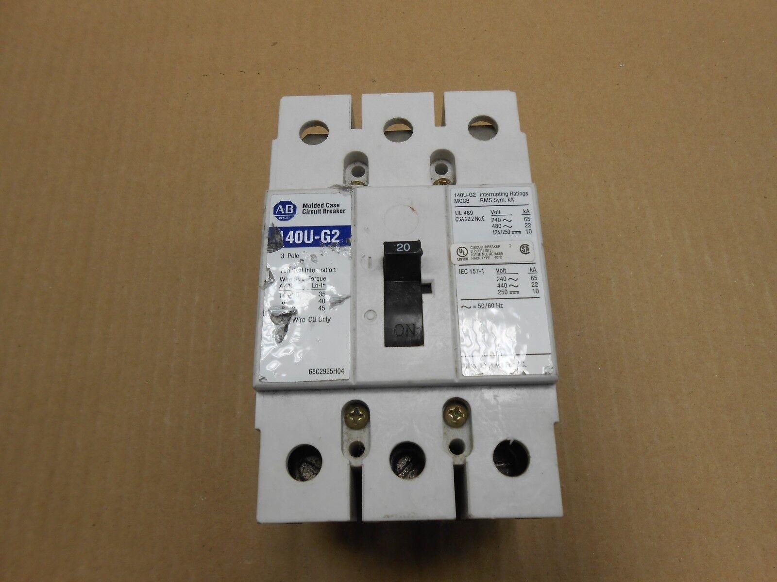 Allen Bradley 140u-g2c3-c20 3 Pole 20 Amp Circuit Breaker | eBay