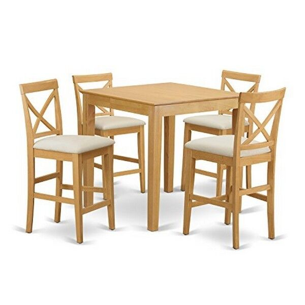 East West Furniture Pub 5 Piece 36x36 Square Counter Height Table Set W/ 4 Chairs in Oak - Pubs5-oak-c at Efurniture Mart | eBay  sc 1 st  eBay & East West Furniture Pub 5 Piece 36x36 Square Counter Height Table ...