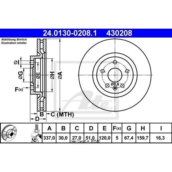 Bremsscheibe, 1 Stück ATE 24.0130-0208.1
