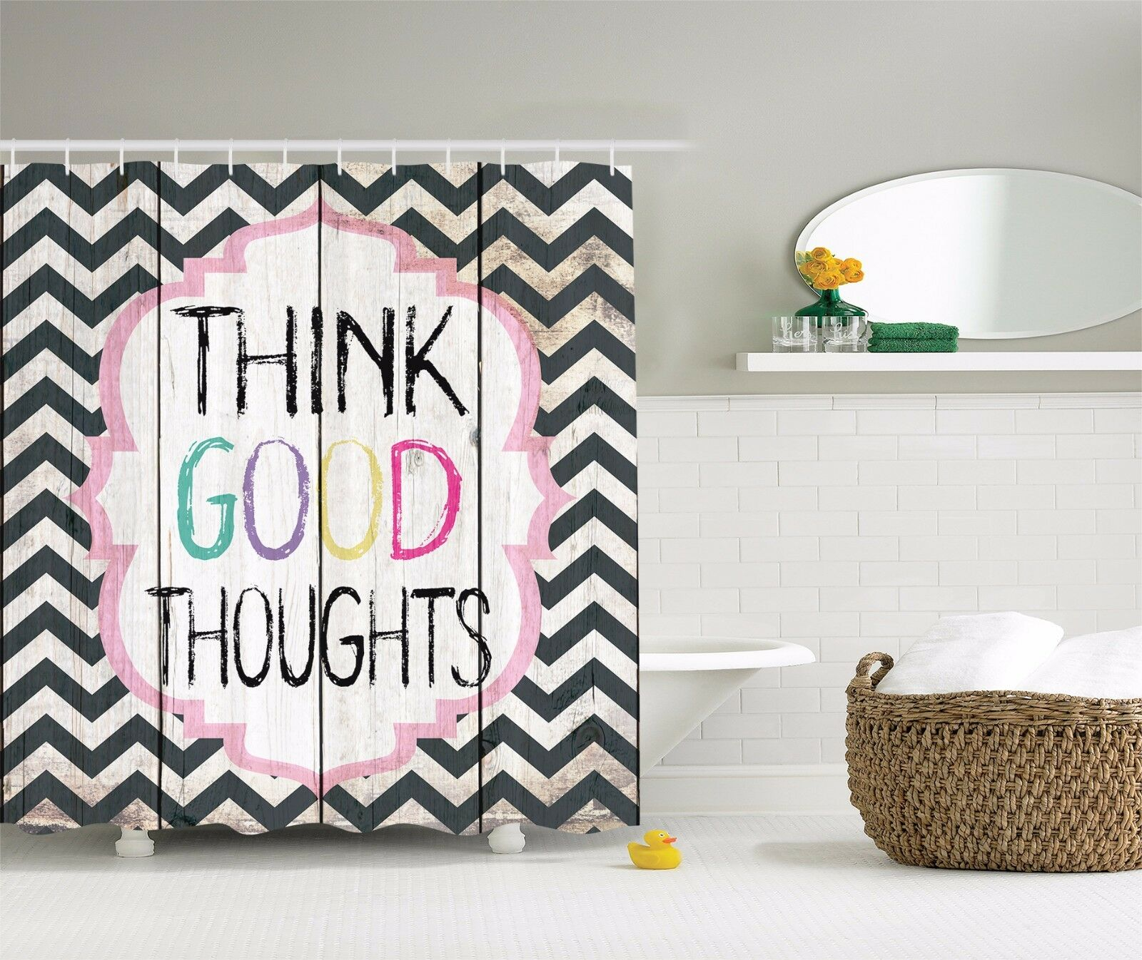 Think Good Thoughts Inspirational Quotes Shower Curtain Extra Long