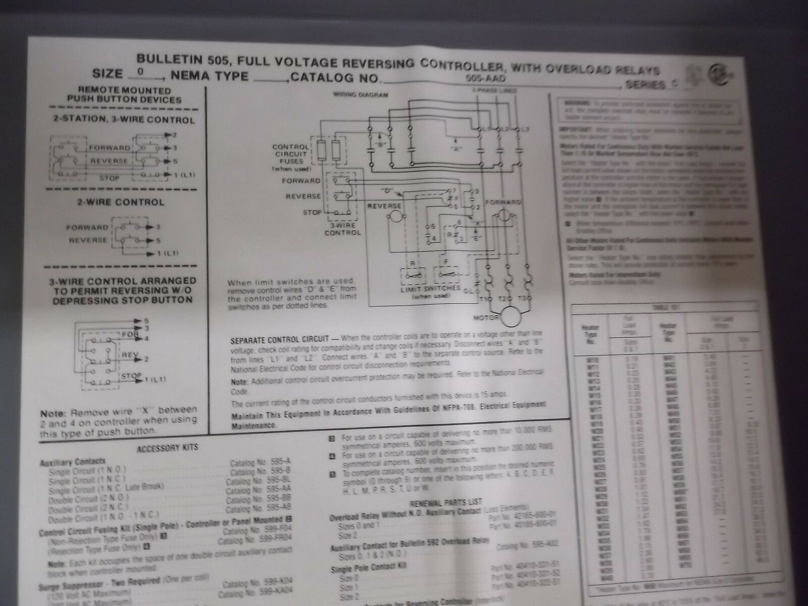 Allen Bradley 505 Aad Series C Full Voltage Reversing Controller W Start Stop Station Wiring Diagram Parallel Pre Owned Lowest Price