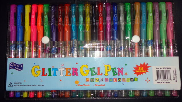 24 pack of Scented Gel Pen with Glitter Assorted Colours Craft Art AUSSIE SELLER