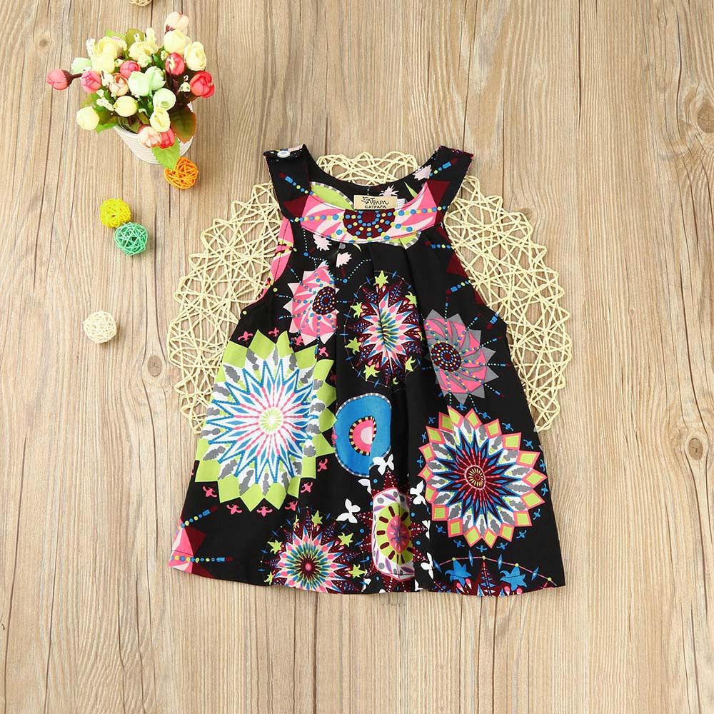 59ac3a22d582 Summer Toddler Baby Kids Girl Floral Boho Princess Dress Beach ...