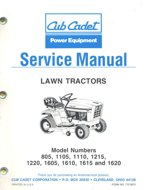 Cub cadet 1020 Service Manual is Also A starter