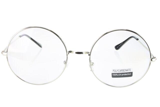 G&G Reader Oversized 60mm Round Fake Glasses Clear Lenses Silver ...